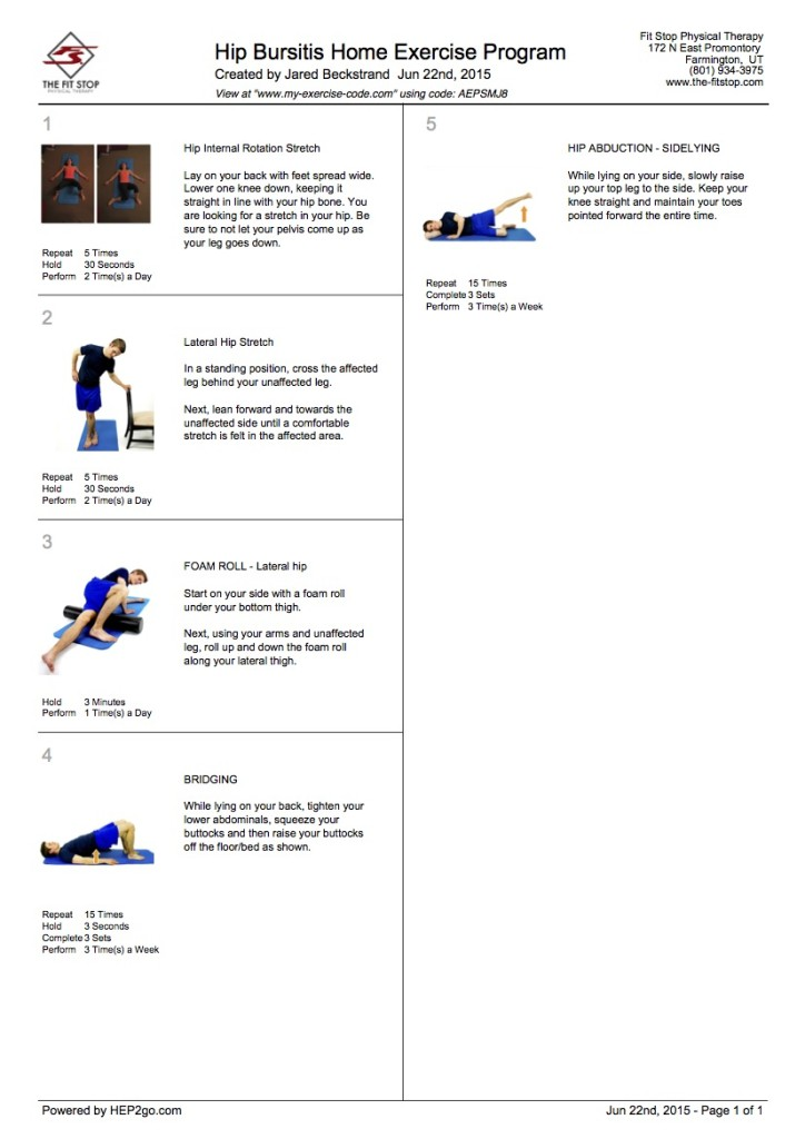 Hip Bursitis Home Exercises Fit Stop Physical Therapy