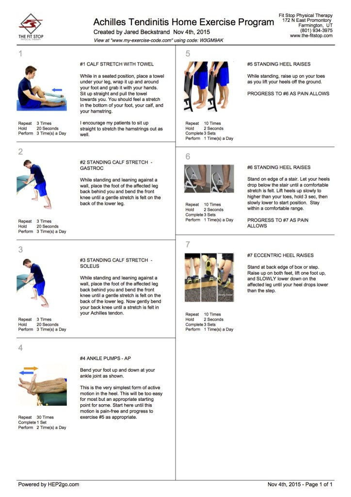 Achille Tendon Home Exercise Program